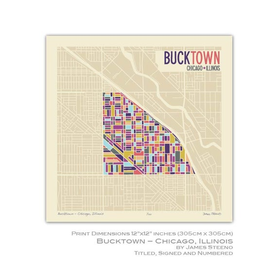 Bucktown Chicago Illinios Neighborhood Art Map Print Cook Etsy