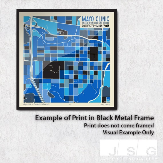Mayo Clinic College of Medicine and Science – Rochester, Minnesota (Olmsted  County) Campus Art Map Print by James Steeno