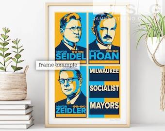 Milwaukee Socialist Mayors Art Poster Print by James Steeno (Milwaukee Wisconsin)