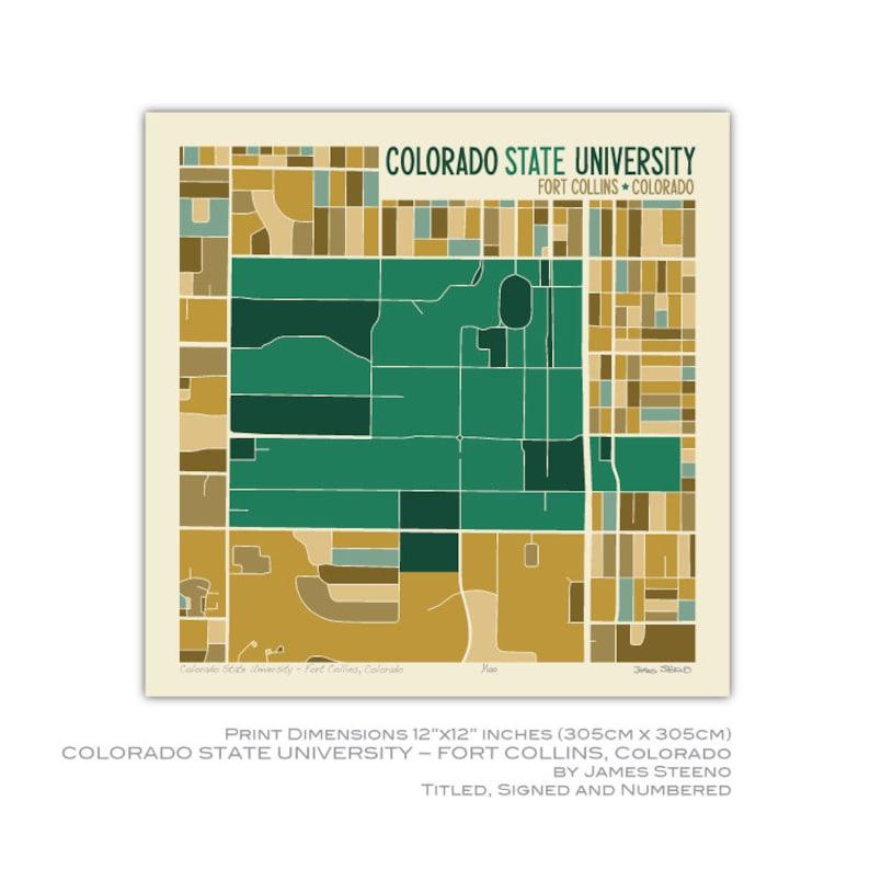 Colorado State University - Fort Collins, Colorado Campus Art Map Print  (Larimer County) by James Steeno