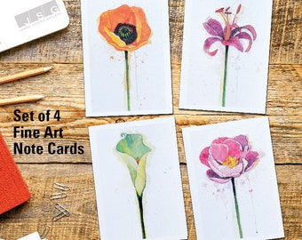 Splash of Color Floral Watercolor Fine Art Note Card Set of 4 Greeting Cards by James Steeno Thank You Blank Inside All Occassion Cards