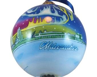 2020 Milwaukee Wisconsin Glass Ball Globe Hand Painted Keepsake Christmas Ornament by James Steeno