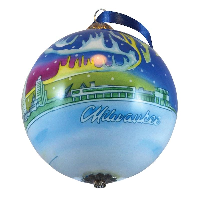 2020 Milwaukee Wisconsin Glass Ball Globe Hand Painted image 1