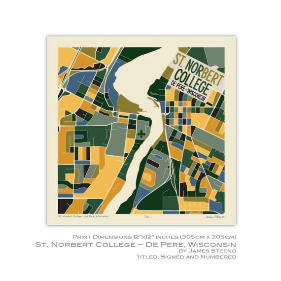 St Norbert College Campus Map.St Norbert College De Pere Wisconsin Campus Art Map Print Etsy