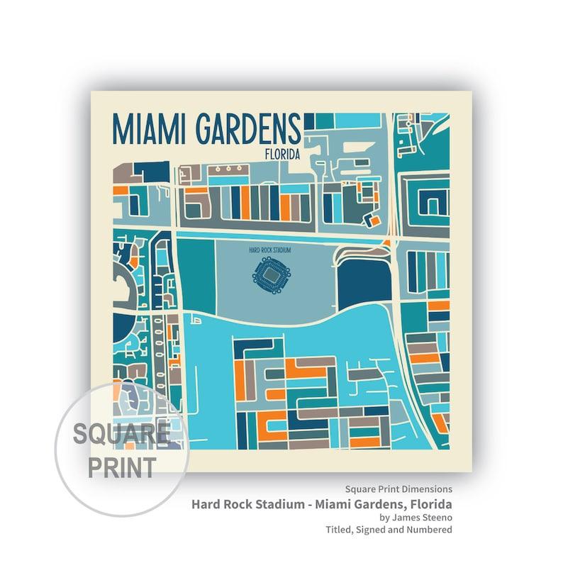 hard rock stadium miami gardens florida stadium art map | etsy