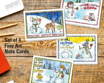 Wisconsin Snowfans Note Card Set of 4 by James Steeno Winter Christmas Holiday Greeting Cards Blank Inside All Ocasions Cards