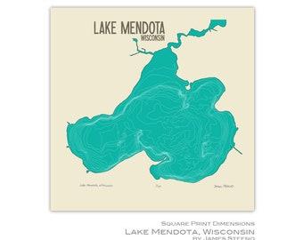 Lake Mendota Art Map Print (Madison, Middleton, Shorewood Hills, Maple Bluff, Westport, Dane County Wisconsin) by James Steeno