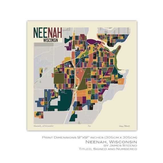 Neenah Wisconsin Art Map Print Winnebago County Fox Etsy