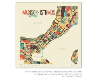 Isthmus – Madison, Wisconsin Art Map Print (Dane County) by James Steeno