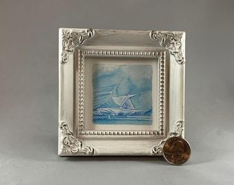 Milwaukee Art Museum Square Framed Miniature Watercolor Art Print by James Steeno Mini Art, Small Art, Tiny Art, Architecture