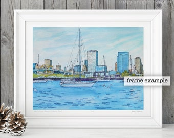 MKE from South Shore Park Watercolor Art Print by James Steeno (Bay View - Milwaukee, Wisconsin)