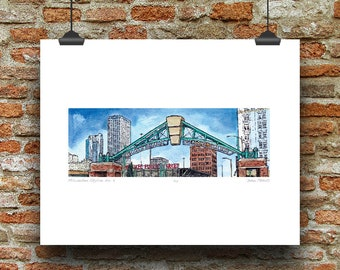 Milwaukee Wisconsin Skyline No 9 (Historic Third Ward) Pen, Ink and Watercolor Art Print by James Steeno