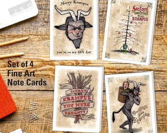 Krampus Note Card Set of 4 by James Steeno Christmas Winter Greeting Blank Inside Cards