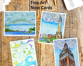 Milwaukee Wisconsin Swirls Watercolor Note Card Set of 4 Greeting Cards by James Steeno Thank You Blank Inside All Occassion Cards