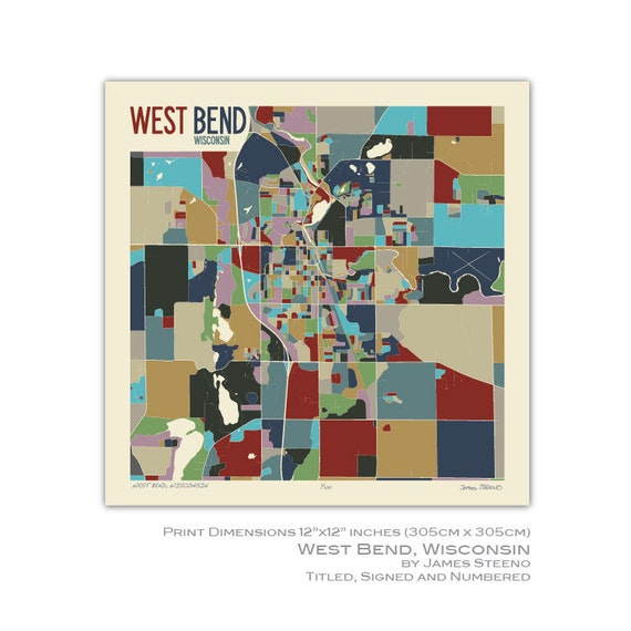 West Bend Wisconsin Art Map Print Washington County By Etsy