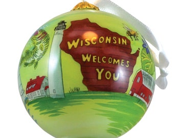 2020 State of Wisconsin Glass Ball Globe Hand Painted Keepsake Christmas Holiday Ornament by James Steeno