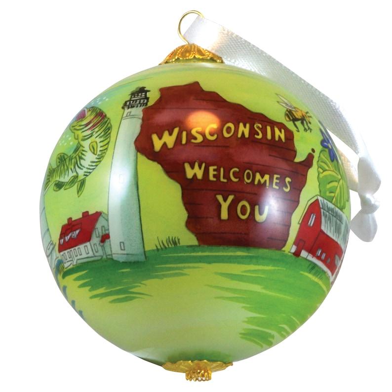 2020 State of Wisconsin Glass Ball Globe Hand Painted Keepsake image 1