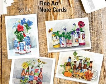 Wisconsin Beer Gardens Watercolor Note Card Set of 4 by James Steeno Floral Greeting Cards Thank You Blank Inside All Occassion Cards