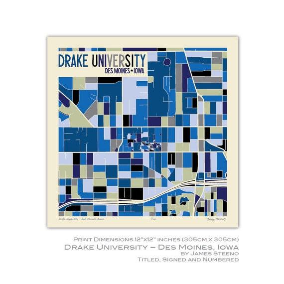 Drake University Des Moines Iowa Campus Art Map Print By Etsy