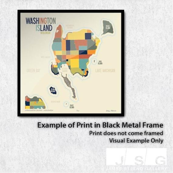 Washington Island - Wisconsin Art Map Print (Door County) by James Steeno