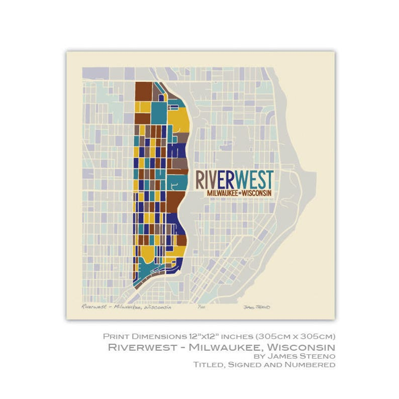 e880bb123cee Riverwest Milwaukee Wisconsin Neighborhood Art Map Print by