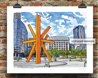 Milwaukee Calling Pen, Ink and Watercolor Art Print by James Steeno (Milwaukee County)