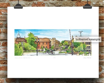 Wauwatosa Wisconsin Skyline No. 1 Pen, Ink and Watercolor Art Print by James Steeno (Tosa Milwaukee County)