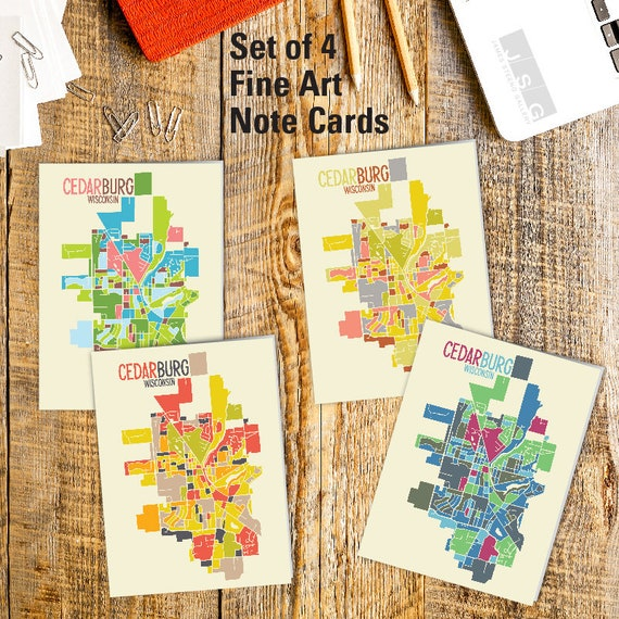 Cedarburg Wisconsin Map.Cedarburg Wisconsin Ozaukee County Art Map Note Card Set Of Etsy