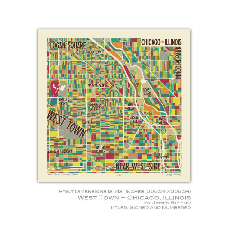 West Town Chicago Map.West Town Chicago Illinios Neighborhood Art Map Print Cook Etsy