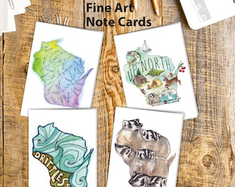Wisconsin State Watercolor Note Card Set of 4 Greeting Cards by James Steeno Thank You Blank Inside All Occassion Cards