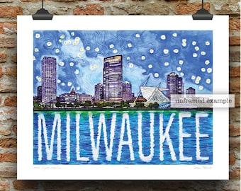 Milwaukee Night Skyline Pen, Ink and Watercolor Art Print by James Steeno (Milwaukee County)