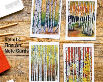 Birches Watercolor Fine Art Note Card Set of 4 by James Steeno Birch Tree Greeting Cards Thank You Blank Inside All Occassion Cards
