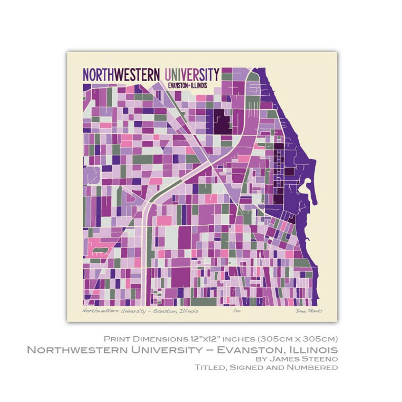 Northwestern University Evanston Campus Map.Northwestern University Evanston Illinios Campus Art Map Etsy