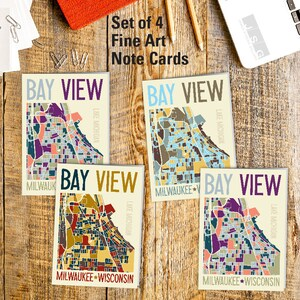 Riverwest Milwaukee Wisconsin Art Map Note Card Set of 4 by James Steeno Greeting Cards Thank You Blank Inside All Occassion Cards