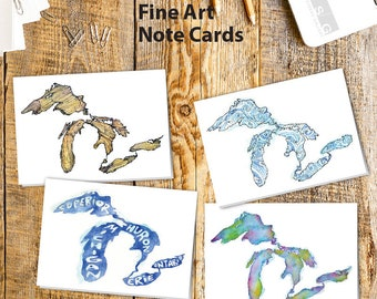 Great Lakes Watercolor Note Card Set of 4 by James Steeno Greeting Cards Thank You Blank Inside All Occassion Cards