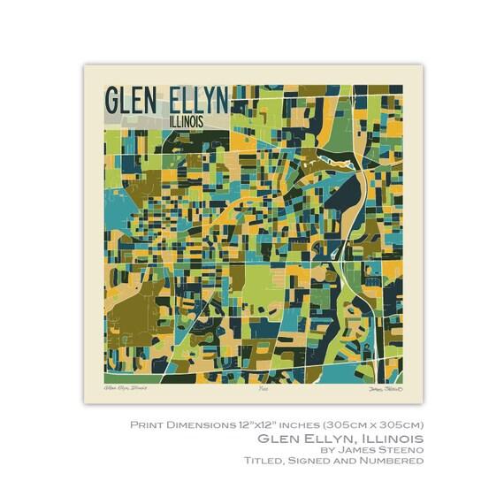 Glen Ellen Illinois Map.Glen Ellyn Illinois Art Map Print Dupage County By James Etsy
