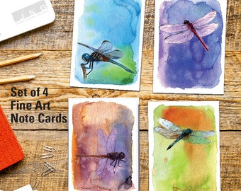 Watercolor Dragonfly Art Note Card Set of 4 Greeting Cards by James Steeno Thank You Blank Inside All Occassion Cards