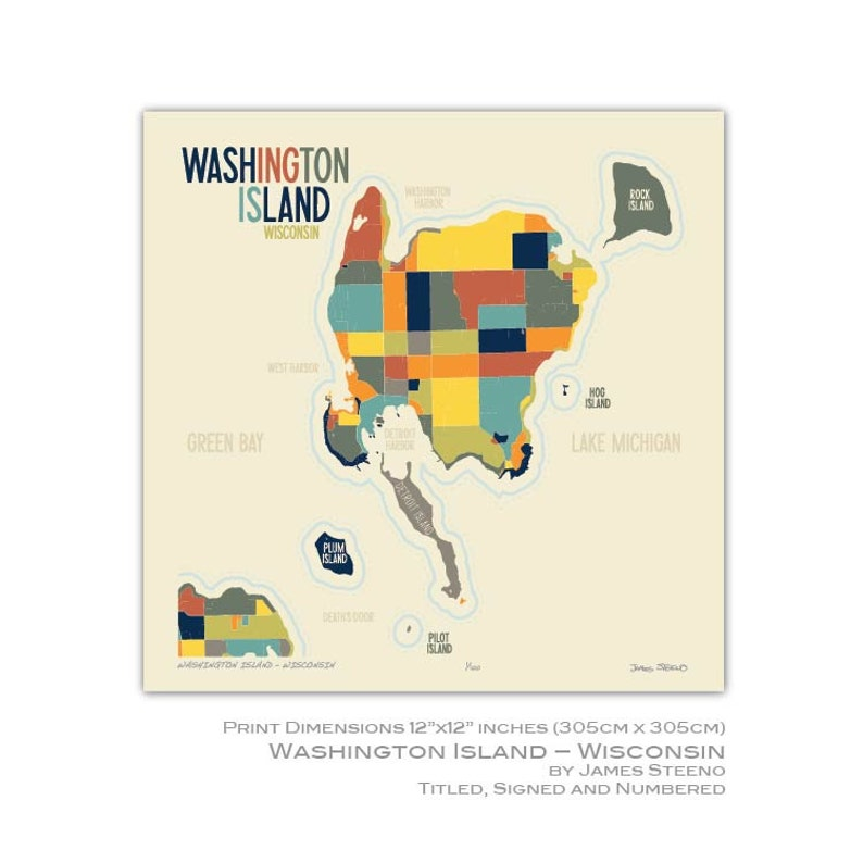 Washington Island - Wisconsin Art Map Print (Door County) by James Steeno