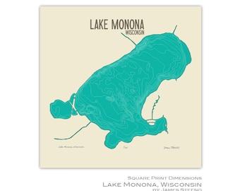 Lake Monona Art Map Print (Madison and Monona Wisconsin Dane County) by James Steeno