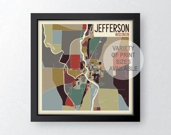 Jefferson Wisconsin Art Map Print (Jefferson County) by James Steeno