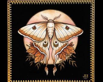 Autumn Luna Moth - Original Watercolor in Gold Glass Frame, Moth Art, Mystic Art, Witchy Art, Entomology Gift