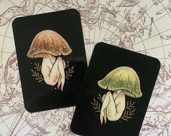 "Shroom Girl Mini Print 2.5"" x 3.5"", Mushroom Art, Mini Art Print, Mushroom Girl"
