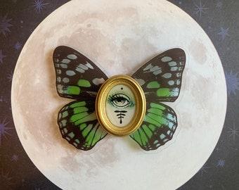 Flying Eye Mini Magnet Green/Blue, Original Watercolor Painting in Resin, Art Magnet, Miniature Gold Frame