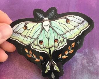 Luna Moth Glossy Vinyl Sticker, Actias luna