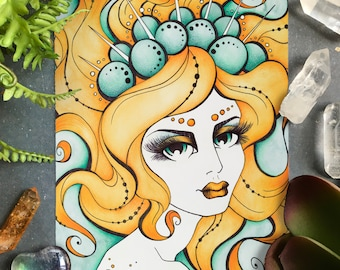 Porcelina Art Print 4x6, Watercolor Art Print, Postcard Sized Print