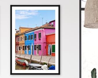 Colorful Burano Island Wall Art Photography, Venice Italy Travel Poster Print