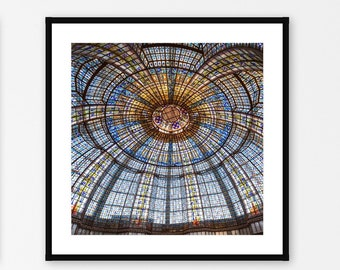 Paris Photography Wall Art, Stained Glass Ceiling Photo Print, Paris Bedroom Wall Decor, Large Square Paris Wall Art