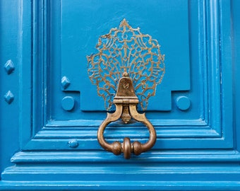 Blue Paris Door Knocker Wall Art Photograph, Paris Travel Photography Wall Decor, French Gift for Her, Large Wall Art