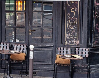 Paris Cafe Photograph, Paris Travel Photo Art Print, Paris Photography, Paris Decor, Black and Gold - Cafe on Ile Saint-Louis