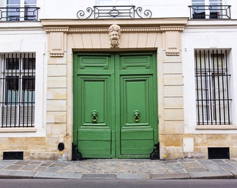 Paris Print, Paris Doors Decor, Green Door, Paris Apartment Photography, French Home Decor Print, Living Room Decor, Parisian Streets
